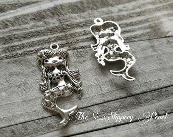 "Mermaid Pendant Mermaid Charm Antiqued Silver Large Mermaid Pendant Focal Pendant Ocean Charm Fairy Tale Charm 2"" CLEARANCE was 1.25"