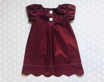 Girls Burgundy Dress, Scallop hem dress, Baby Girl Dress, toddler outfit, Toddler Fashion, Toddler Dresses, Handmade Dress, Girls Dress