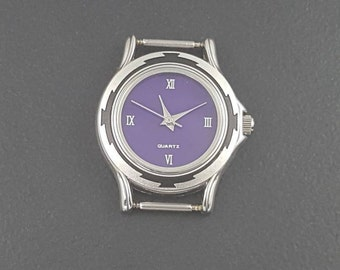 Sugilite Watch Face, mgsupply, purple black silver, 25mm round, stainless steel back, removable bar, gemstone watch face, watch finding