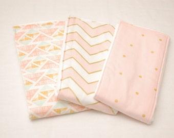 Girls Baby Burp Cloths/ Pink and Gold Chevron and Polka Dots Baby Burp Cloths: Set of 3/ Cloth Diapers/ New Baby Gift/ Baby Shower Gift