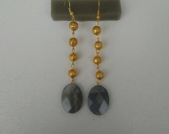 Gold and grey earrings