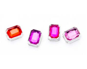 Silver Gem Sliders - Pink Mix - 4 pieces