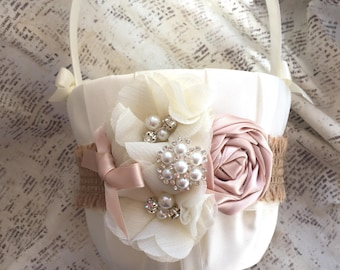 Rustic Flower Girl Basket, rustic flower girl basket and pillow set, Flower girl basket vintage, flower basket rustic, petal basket rustic