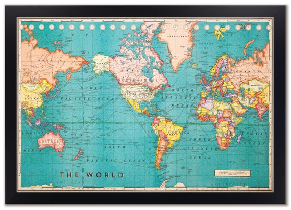 Cork board world map framed cork board map world map map gumiabroncs Image collections