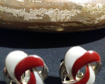 Cream and Red clip on gold tone earrings