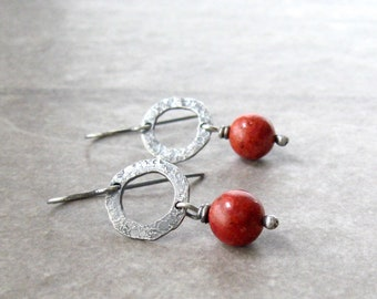 red drop earrings, bamboo coral earrings, oxidized silver, red and silver earrings