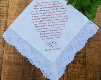 Mother of the Bride Gift, Parents Wedding Gift, Mother of the Groom, Mother of Bride, Mother Wedding Gift Handkerchief PRINTED (H 044)