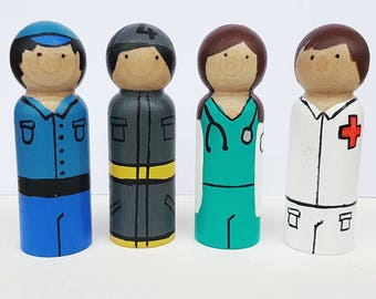 Community Helpers - UNFINISHED Wooden Peg Dolls - DIY Kit