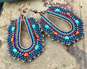 Teal Mosaic Earrings with Orange Accents