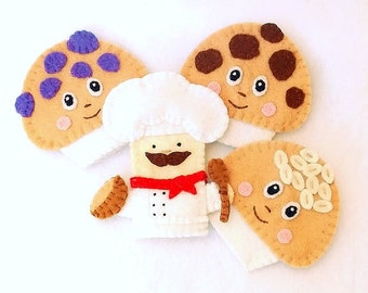 The Muffin Man finger puppet, blueberry muffin finger puppet, chocolate chip finger muffin puppet, bran & oats muffin finger puppet, puppet