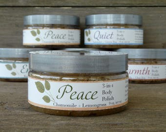 Cleansing and Moisturizing Sugar Scrub - Peace 3-in-1 Body Polish - cleanse, exfoliate, and moisturize in one step - Chamomile and Lemograss