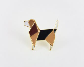 Origami Dog Soft Enamel Pin,Enamel Pin,Origami Jewelry,Dog Pin,Dog Gift,Dog Lover,Origami Dog,Lapel Pin,Pooch,Beagle Dog,Stocking Stuffers