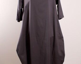 Asymmetric Grey Dress /Oversize Dress/Baggy Jersey dress/Lagenlook,Layered Dress/Women Formal Clothes /Drape  Loose Dress /High Collar Dress