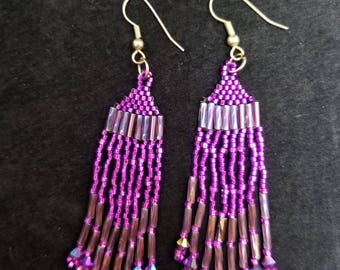 Purple Native American inspired Beadwork earrings Beadwork  Dreams Raven
