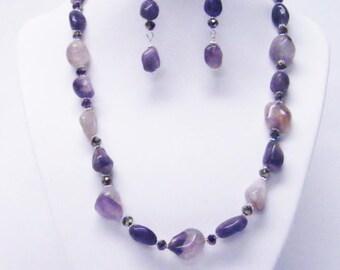 Purple Freeform Natural Gemstone Nuggets Necklace/Bracelet/Earrings Set