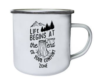Life begins at the end of your comfort zone Retro,Tin, Enamel 10oz Mug r35e