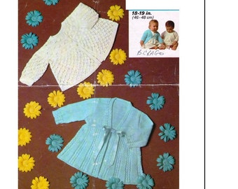 BABY Knitting PATTERN - PDF Baby's Matinee coats - 2 styles 18-19 inches