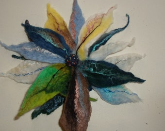 BROOCH, Flower brooch, Felted flower brooch  flower in blue,grey,brown,white and yellow Jewelry felt Jewelry brooch felted Jewelry handmade
