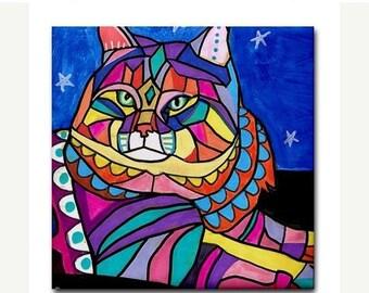 50% SALE- Siberian Cat art Tile Ceramic Coaster Print of painting by Heather Galler Cat