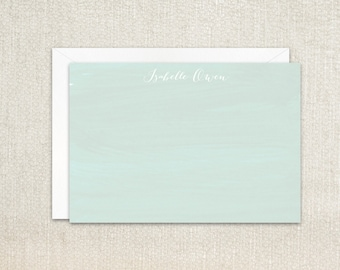 Mint green watercolor personalized flat note cards stationery