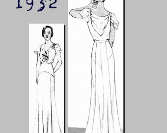 Evening Dress with Shawl - Vintage Reproduction PDF Pattern - 1930's -  made from original 1932 Pattern