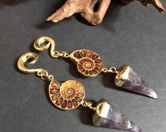 Ammonite fossil ear weights, Amethyst ear weights,fossil ear hangers,dangle ear hanger,guage earring