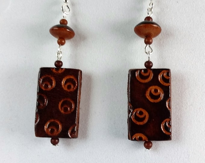 Rectangular Etched Leather Mocha Tone Earrings with Double Drop - Leather and Wood Long Earrings - Earthy Brown Leather Earrings