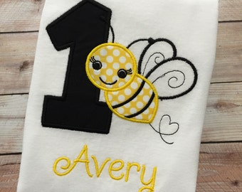 Embroidered Bumble Bee Birthday ANY AGE Bumble Bee Bodysuit/Shirt/Girls Birthday Outfit 1st Bee Day