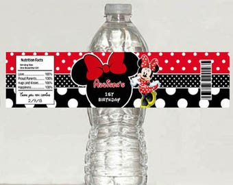 5 Minnie Mouse red polka dot Birthday water bottle label