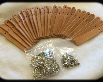 Leather name key fob kit 25 pack