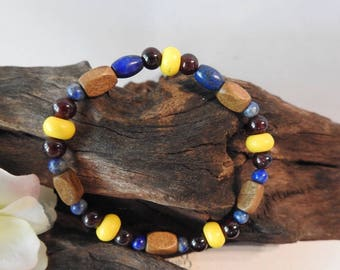 Natural Lapis Lazuli, Garnet & Yellow Howlite healing gemstone stretch bracelet