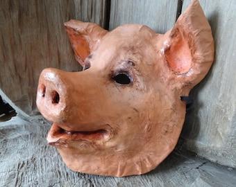 Bebe Paper mache animal mask pig mask pig costume Halloween mask Mens Masquerade
