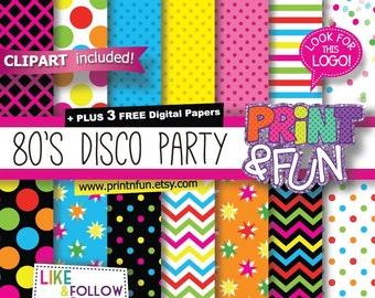 Disco Party, Digital Paper, Patterns, clip art, Patterns, Backgrounds, for Party Printables bottle labels favor boxes