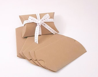 10 Kraft Pillow Boxes || Party Favor Boxes - Craft Packaging