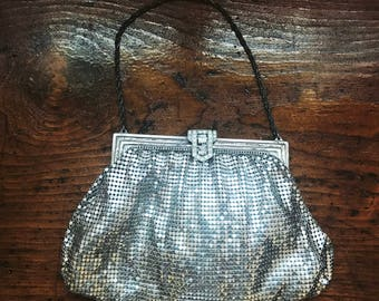 1920s Art Deco Vintage Whiting and Davis Silver Mesh Bag Iconic with Rhinestones Gatsby Jazz Age Flapper Accessories 20s Style Cocktail