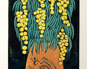 linocut, Mimosa, flowers, yellow, blue, orange, spring flowers, branches, vase, still life, printmaking, home interior