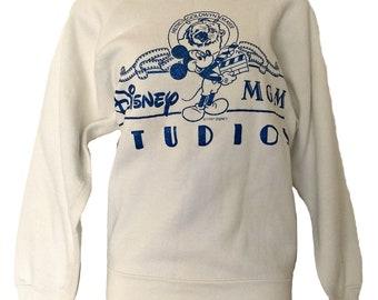 Vintage Disney Sweatshirt 80s Mickey Mouse MGM Blue Glitter Size Large
