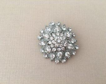 Edwardian Style Brooch.Crystal Flower Brooch.Rhinestone brooch.Vintage Style.Bridal Brooch.wedding Pin.Silver Flower Broach pin