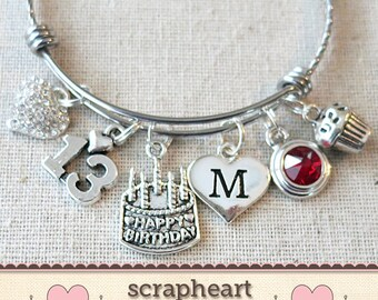 13th BIRTHDAY GIFT Birthday Charm Bracelet Teenage Daughter Gift Ideas Girls Thirteenth