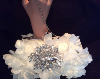 Floral Wedding Bag, White Bridal Purse, Wedding Clutch Bag, Formal Clutch