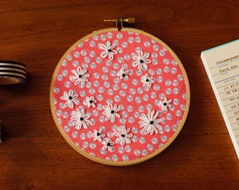 """Pink Lazy Daisy Embroidery in a 5"""" Hoop"""