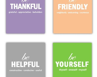 """Art for Teens, Playroom wall Art, Our """"Just Be"""" Collection Set of Four 8x10 prints, great for nursery, or playroom, or as a gift"""