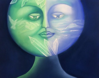 Mother Earth Pastel Picture-pastel painting-visionary art-Mother Earth-