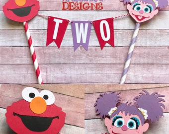Elmo  & Abby Birthday Age Cake Bunting Topper - Smash Cake - Sesame Street Party - Red Orange Lavender Pink