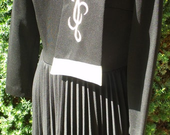 Vintage Black Long Sleeve Dress with Accordion Skirt