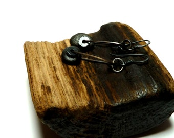 Sterling Silver Earring Pair REVOLUTION Oxidized Genuine Drilled Beach Stones Industrial Style Black Pebbles Pair River Rocks Talisman