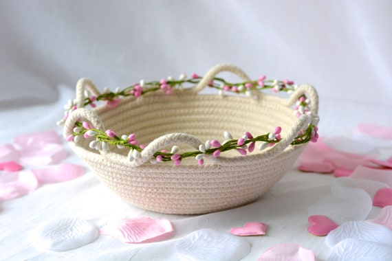 Spring Artisan Basket, Handmade Clothesline Quilted Bowl, Brush Holder, Primitive Coiled Fabric Basket, Rustic Natural Raw Rope Decor