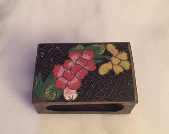 Vintage Chinese enamelware cloisonné match box holder, in good vintage condition.