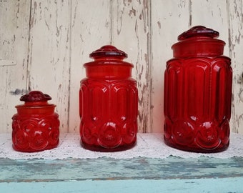 Vintage Red Glass Cannister Set By LE Smith - Retro Amberina Art Glass Jar Set of 3 in Moon + Star Pattern, Kitchen  Storage, Mid Century