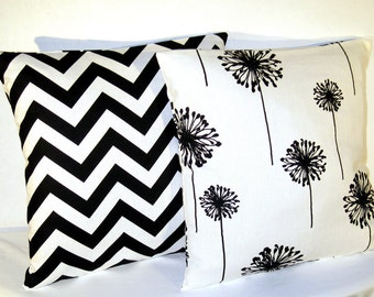 Pillows Black and White Chevron and Dandelion - Accent Pillow - 18 x 18 inch square - TWO PILLOW COVERS
